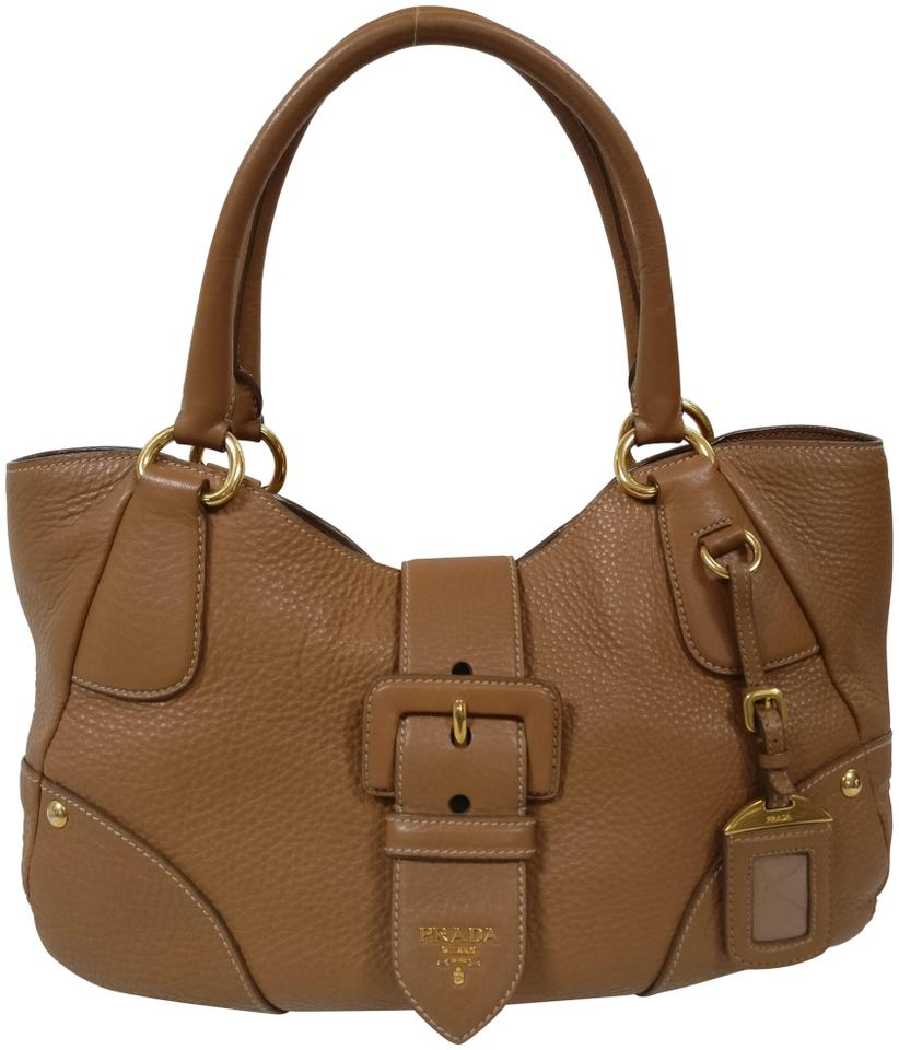 568f1d0af37b Prada Pebbled Flap Brown Leather Shoulder Bag - Tradesy