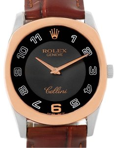 Rolex Rolex Cellini Danaos 18K White Rose Gold Black Dial Mens Watch 4233