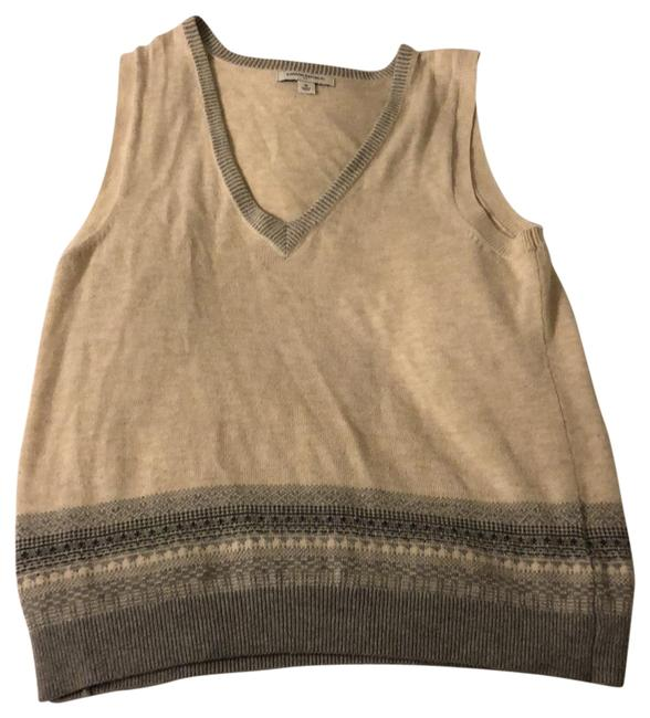 Item - Beige and Gray Classic Vest Size 8 (M)