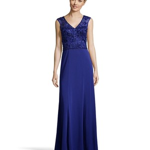 Sue Wong Sapphire 80%polyester 20% Nylon The Women's Beaded Mesh and Jersey Open Back Evening Gown Feminine Bridesmaid/Mob Dress Size 12 (L)