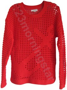 Kenar Crew Neck Open Crochet Knit Anchor Print Nautical Style Relaxed Sihouette Sweater