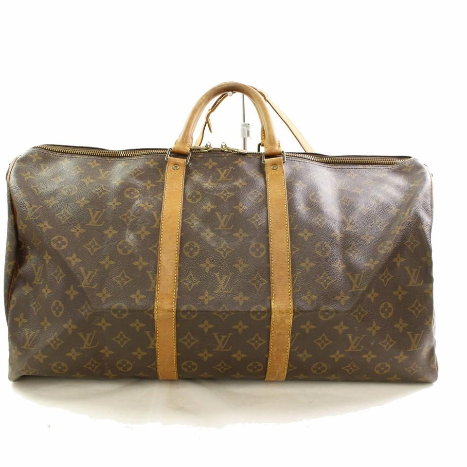 4d2c30c54f68 Louis Vuitton Keepall Monogram Bandouliere 55 866482 Brown Coated Canvas  Weekend Travel Bag