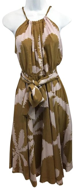 Item - Brown/Pink Elastic Waist Belted Printed Mid-length Casual Maxi Dress Size 8 (M)