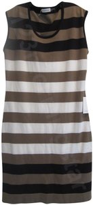 Calvin Klein Wide Striped Crew Neck Shift Knit Pullover Style Sleeveless Dress