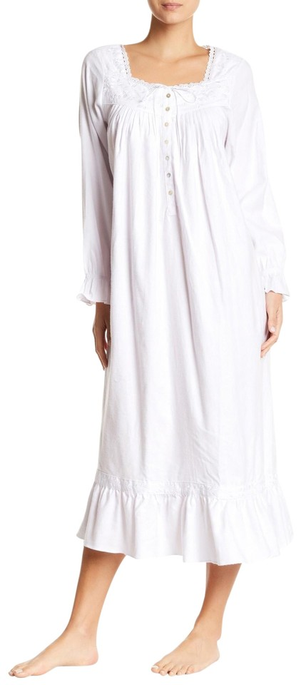Eileen West White L Sleeve Ballet Nightgown Long Casual Maxi Dress ...