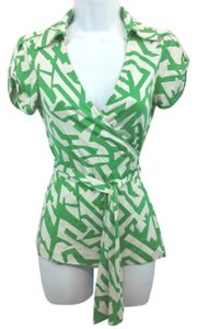 Diane von Furstenberg Top Green/White