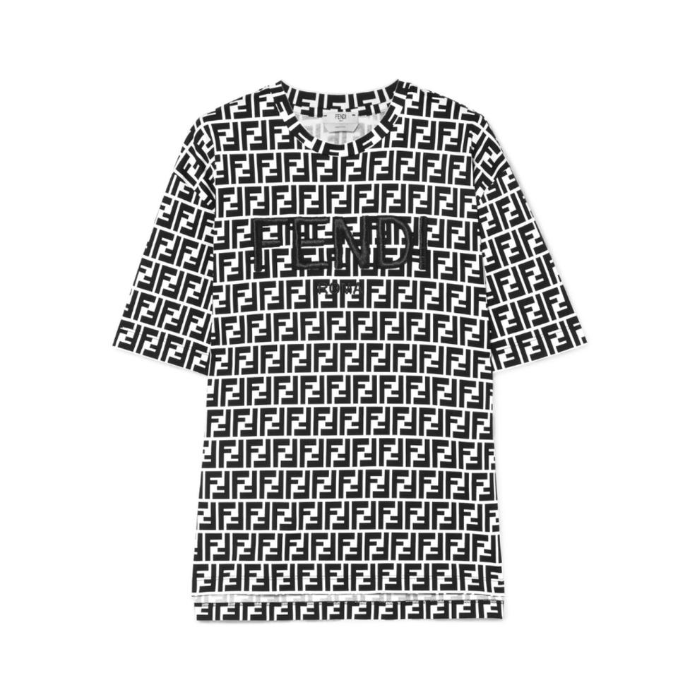 703dd70a Fendi Logo All Over Printed Embroidered Tee Shirt Size 4 (S) - Tradesy