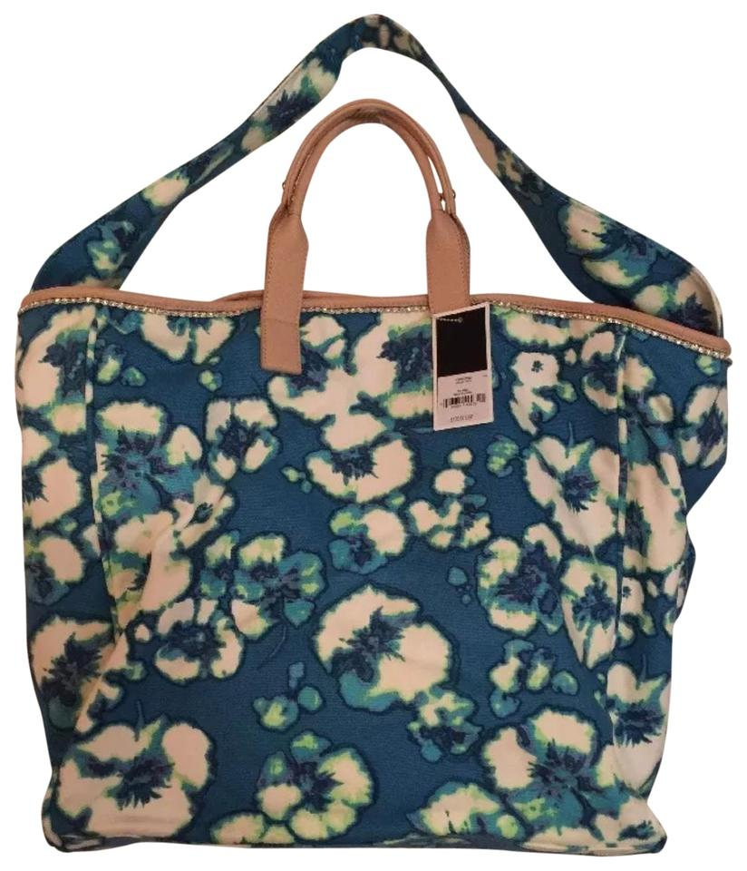 Juicy Couture Tote Turquoise   White Canvas Cotton Fabric Beach Bag ... 39e769b8f3c9