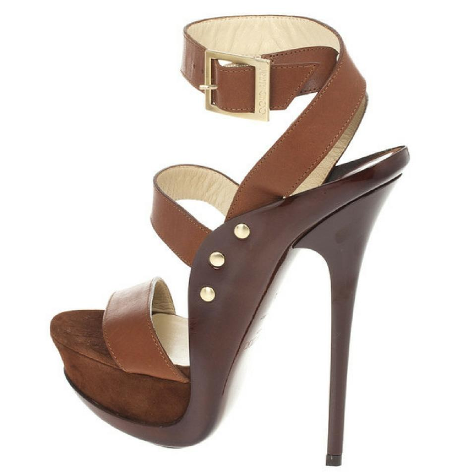 Jimmy and Choo Brown Leather and Jimmy Suede 'halley' Sandals Platforms de8335