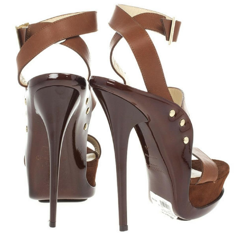 8b858b6441425c Jimmy Choo Brown Leather and Suede  halley  Sandals Platforms Size EU 36  (Approx. US 6) Wide (C