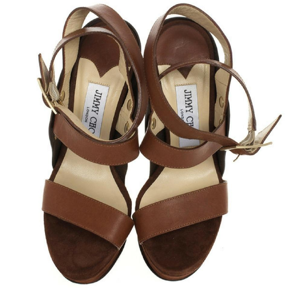 aa4ea8bed4b55d Jimmy Choo Brown Leather and Suede  halley  Sandals Platforms Size ...