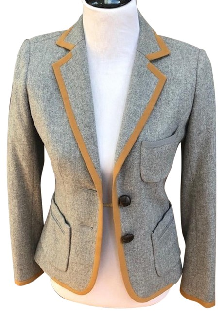 Item - Grey and Yellow Silk W Classic Wool Jacket Trim Pockets Leather Buttons Shorts Suit Size 4 (S)