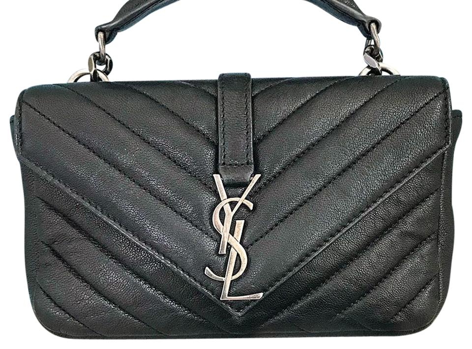 00d4bfbf53 Saint Laurent Ysl Yves Mini College Chain Wallet Chevron Leather Cross Body  Bag Image 0 ...