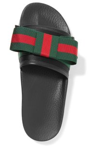 036a266820d95 Gucci Black with Red Green New Pursuit Bow Satin and Rubber Pool ...