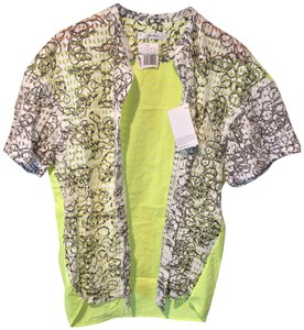 Julien David Neon Lime Buttons Tunic Shortsleeve Top Green