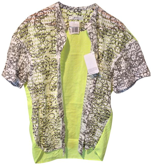 Item - Green Knit Overlay Neon Button-up Blouse Size 12 (L)