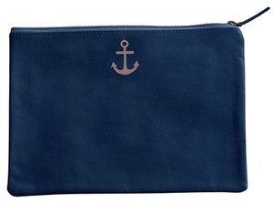 West Elm Nautical Anchor Leather Navy Clutch