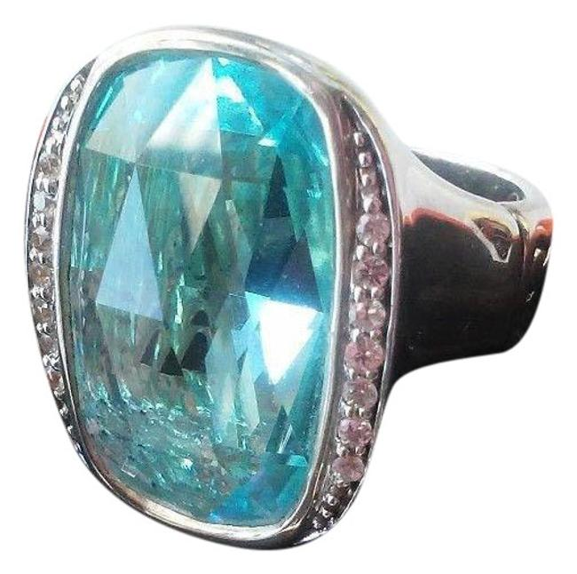 """Item - Sterling Silver with Blue Topaz and White Sapphire Accents. """"Batu""""Large From The Bamboo Collection Size 7.25 Ring"""