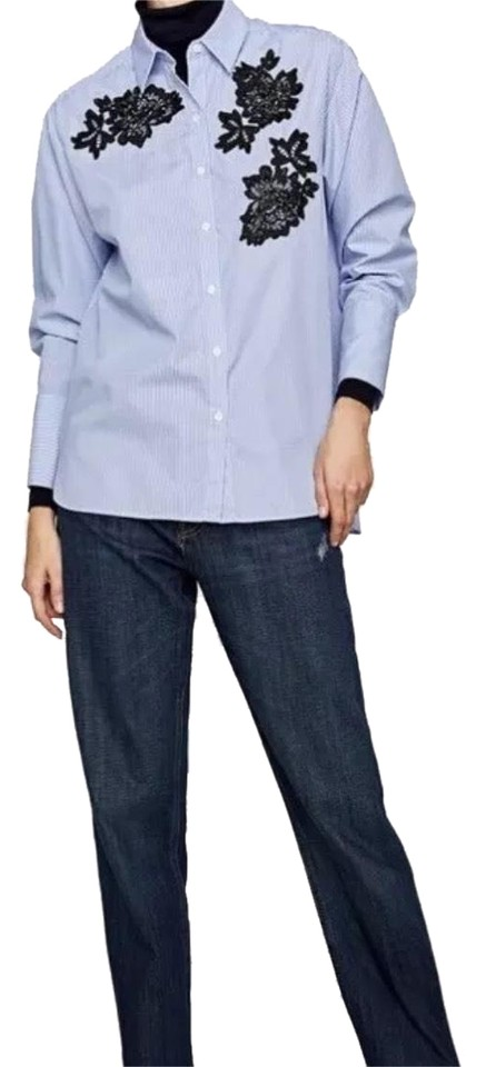 6f50bf29 Zara Blue White Striped Shirt with Patches Blouse Size 12 (L) - Tradesy