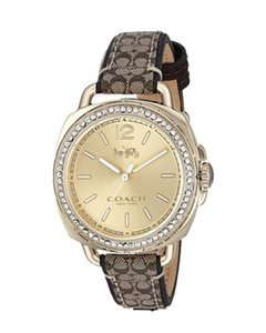 Coach Signature Leather Strap Gold Crystal Dial Tatum 14502770