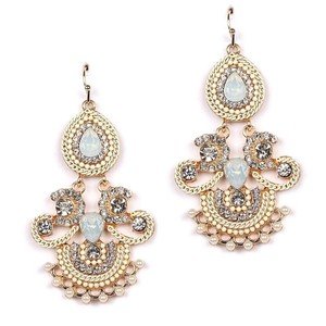 Glam Crystals Opal Gems Pearls Statement Chandeliers Earrings