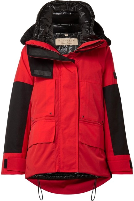 Burberry Red and Black Canvas Shell Down Filled Puffer Coat Size 2 (XS) Burberry Red and Black Canvas Shell Down Filled Puffer Coat Size 2 (XS) Image 1