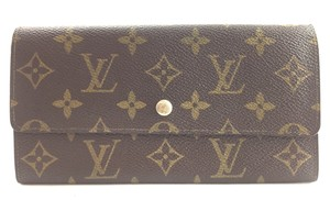 Louis Vuitton Monogram Long Flap Wallet Pocket bill case zip zipper sarah vintage