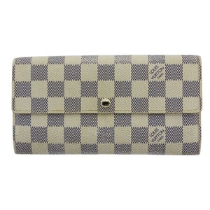 Louis Vuitton Authentic Louis Vuitton Damier Azur Sarah Bi-Fold Wallet N61724 LV