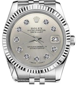 Rolex Women`s Rolex 26mm Datejust Silver Color Diamond Dial Watch