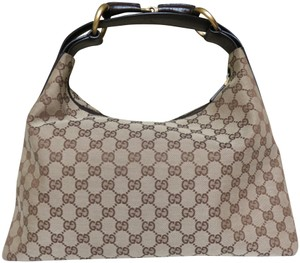 Gucci Textile Fabric Leather Trimmed Hobo Bag
