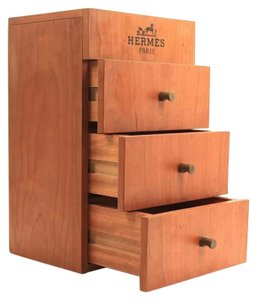 Hermès Hermes Wooden Perfume Display 3 Drawer Case Storage Box Rare