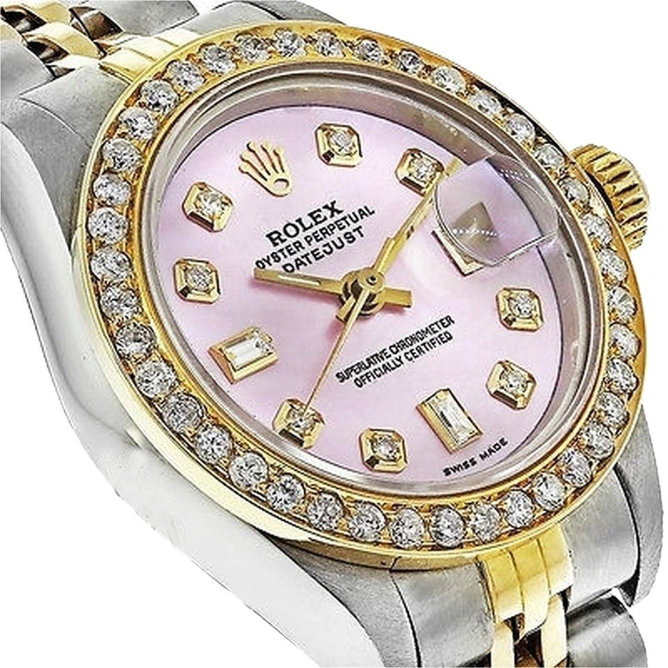 Rolex Pre,owned 69173 Womens Datejust Two,tone Gold with Diamond Bezel  Watch 61% off retail