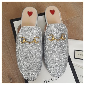 Gucci Princetown Slippers Silver Mules