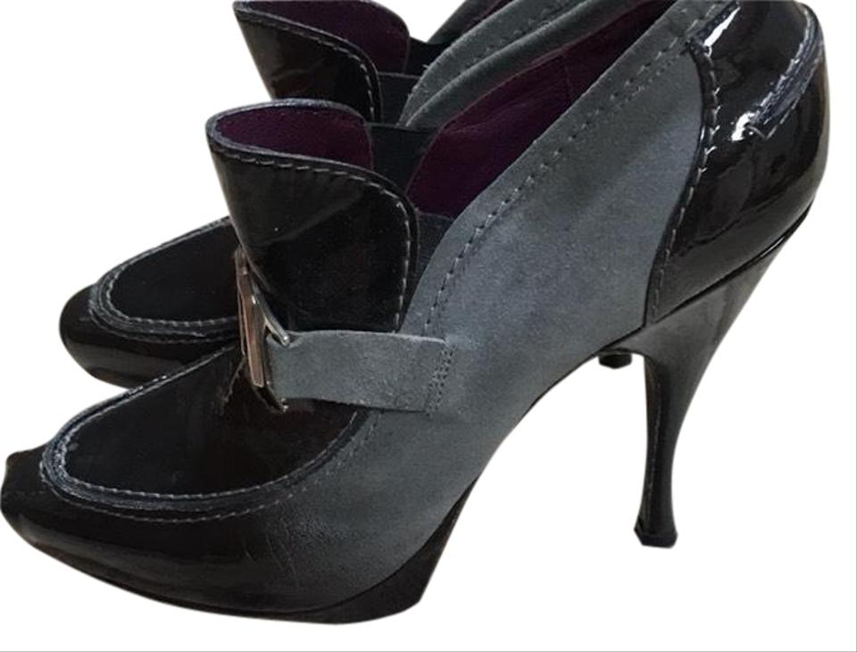 Céline Blk and Grey Stiletto To Black Patent Leather Fade To Stiletto Suede Co Trust Stiching Pumps 74ba2a