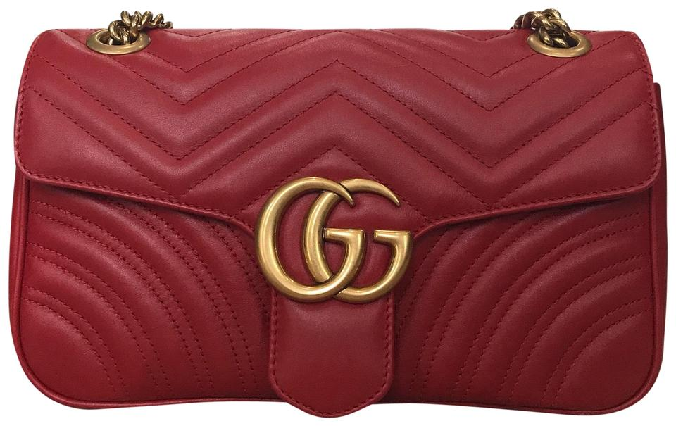 8122516c46bd Gucci Marmont Gg Red Lambskin Leather Shoulder Bag - Tradesy