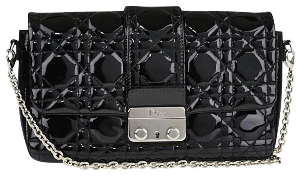 Dior Christian Cannage Quilted New Lock Pouch Clutch Black Patent Leather  Cross Body Bag 50c6137fee