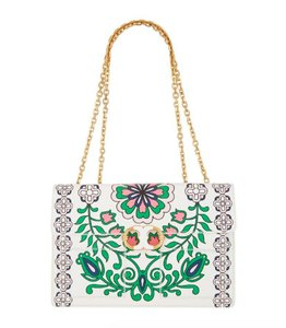 Tory Burch Summer Spring Floral Leather Satchel in White Multi