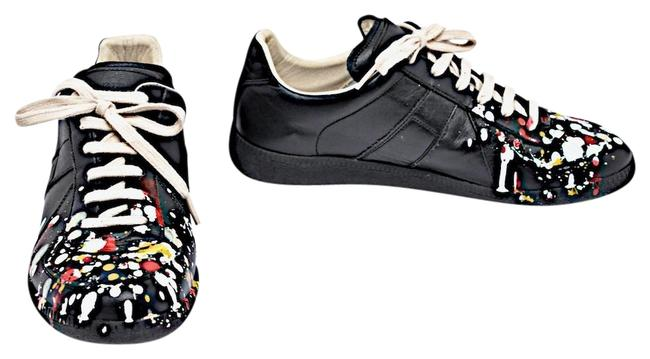 Item - Black Multi Color Replica Lambskin Paint Splatter Sneakers Size EU 40 (Approx. US 10) Regular (M, B)
