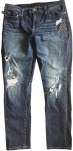 Rock & Republic Destructed Mid Rise Berlin Fit Skinny Jeans-Distressed