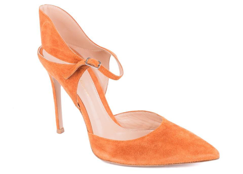 ee496d36444c Gianvito Rossi Orange Cut Out Suede Double Ankle Strap C1810 Pumps ...