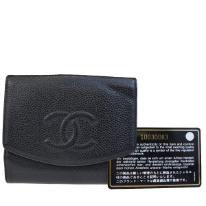 8411a2aaefe8 Chanel CC Logos Bifold Wallet Purse Caviar Skin Leather Black