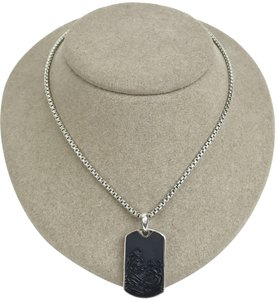 David Yurman David Yurman Carved Black Onyx Waves Dog Tag Pendant Silver