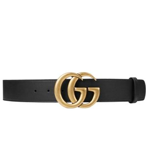 "Gucci Marmont 80/32 1.5"" Black Leather Belt Gold Logo Sold Out Double GG"