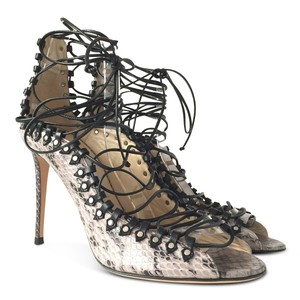 Jimmy Choo Snakeskin Open Toe Strappy Stiletto Gray Sandals