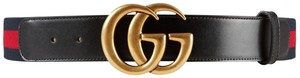Gucci GUCCI Marmont Web belt with Double G gold buckle Size 90/36