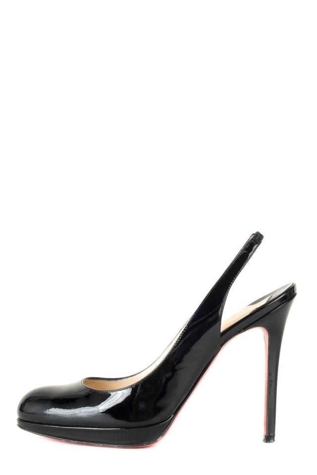 2a3a708a0d49 Christian Louboutin Black Patent Leather Sling Heels Pumps Size EU ...