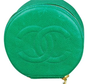 Chanel Chanel Caviar Green Leather Jewelry Coin Case or Clutch