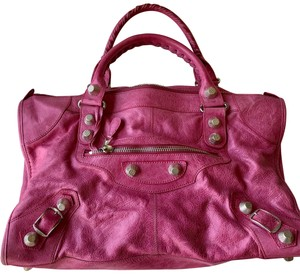 Balenciaga Tote in pink with silver giant studs