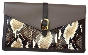 Fendi Water Snake Leather Envelope Grey and Black Clutch