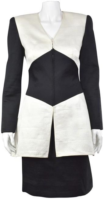 Item - Black & Ivory Couture 2-pc Channel Quilted Silk Skirt Suit Size 4 (S)